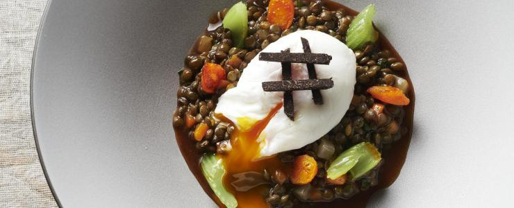 Green lentil stew with truffles and poached pullet egg